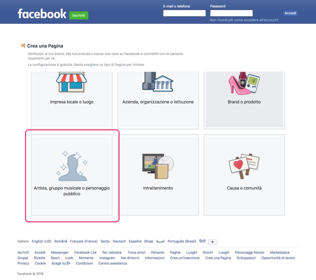 Crea una Pagina Facebook per Promuovere Musica