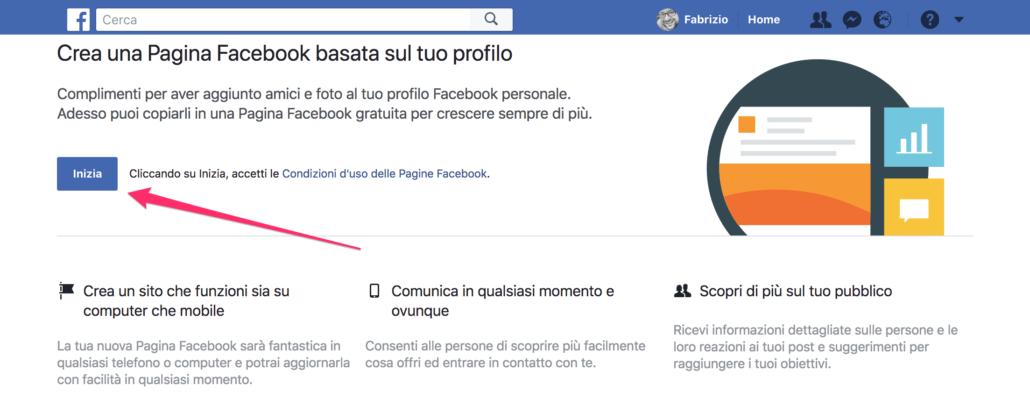 Crea una Pagina Facebook basata sul tuo profilo