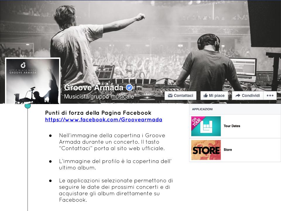 Esempi Pagine Facebook Musicisti Cantanti Band Groove Armada