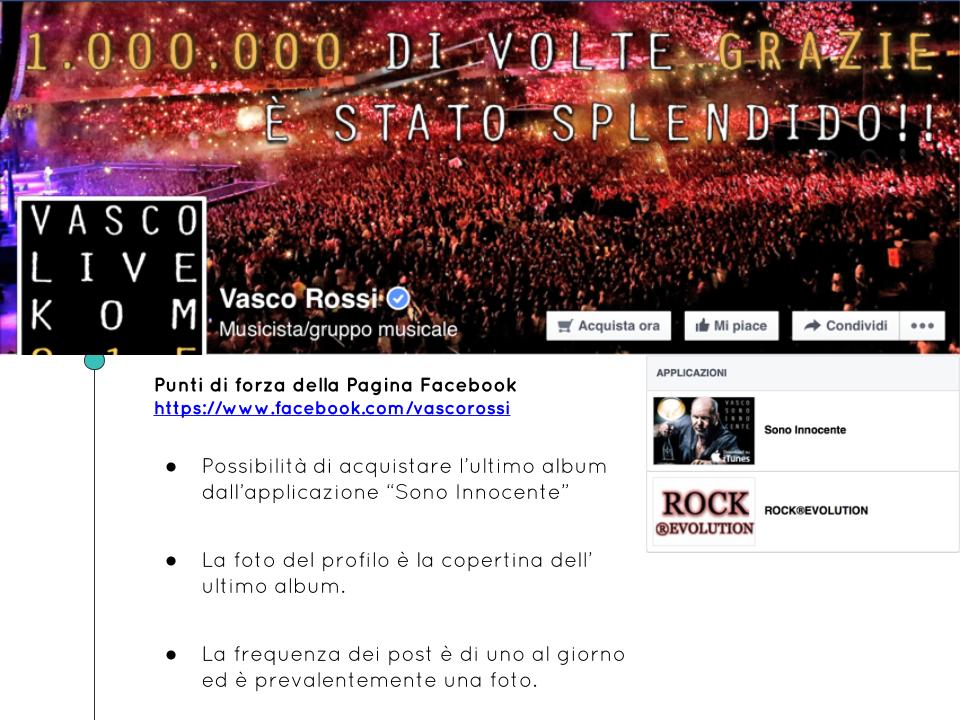 Esempi Pagine Facebook Musicisti Cantanti Band Vasco Rossi