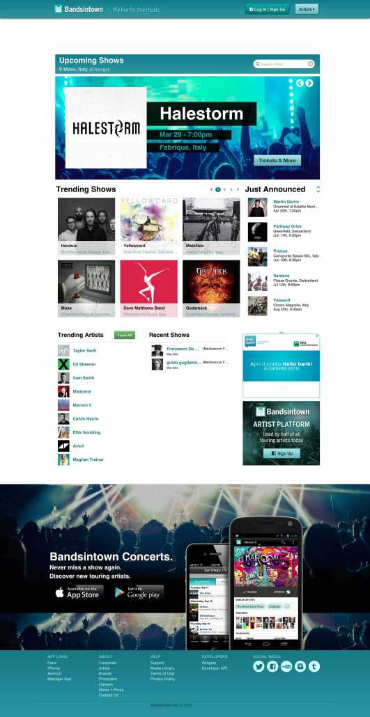 bandsintown home page
